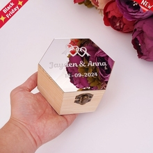 Acrylic-Mirror-Cover-Box Wood-Boxes Candy-Holder Party Gift Hexagon-Shape Custom Wedding