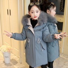 Girls Winter Clothing Coat 2020 New Cotton Jacket Children's Stitching Long Thick Cotton Clothes 11 Baby Girl Winter Clothes -30