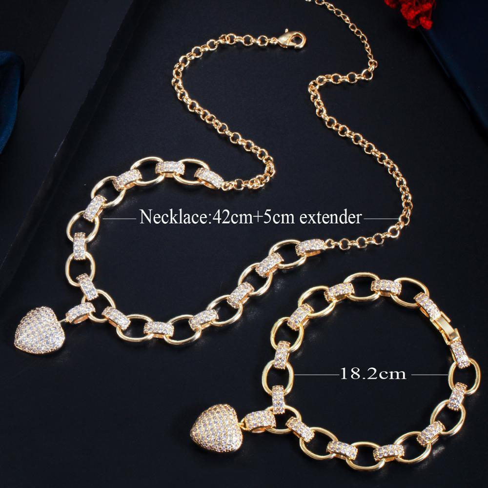CWWZircons 585 Gold Color Cubic Zirconia Dangle Love Heart Shape Charm Bracelet Pendant Necklace Women Costume Jewelry Set T468
