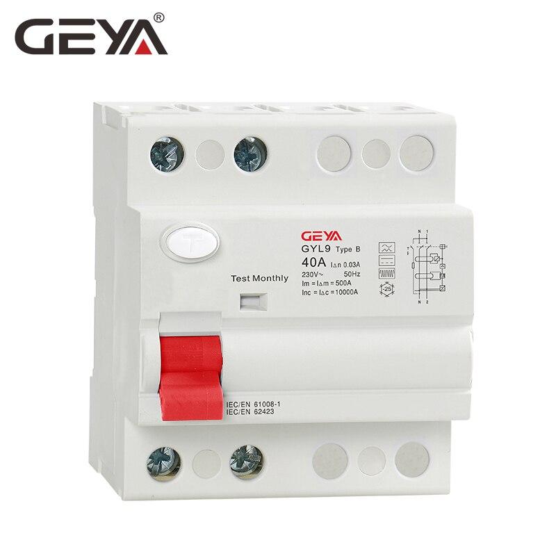 Livraison gratuite GEYA B Type RCCB disjoncteur de courant résiduel DC ELCB 2P 63 Amp 30mA Type B 10KA RCD