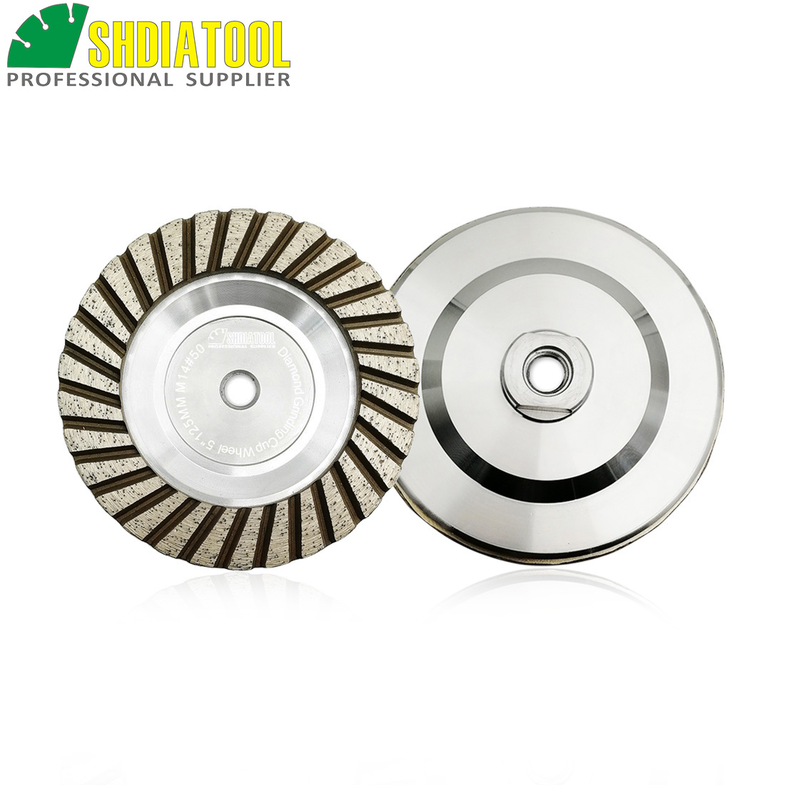 SHDIATOOL 2pcs Dia 125mm/5inch M14 Thread Aluminum Based Diamond Grinding Cup Wheel Grit#50 Grinding Wheel For Granite Concrete