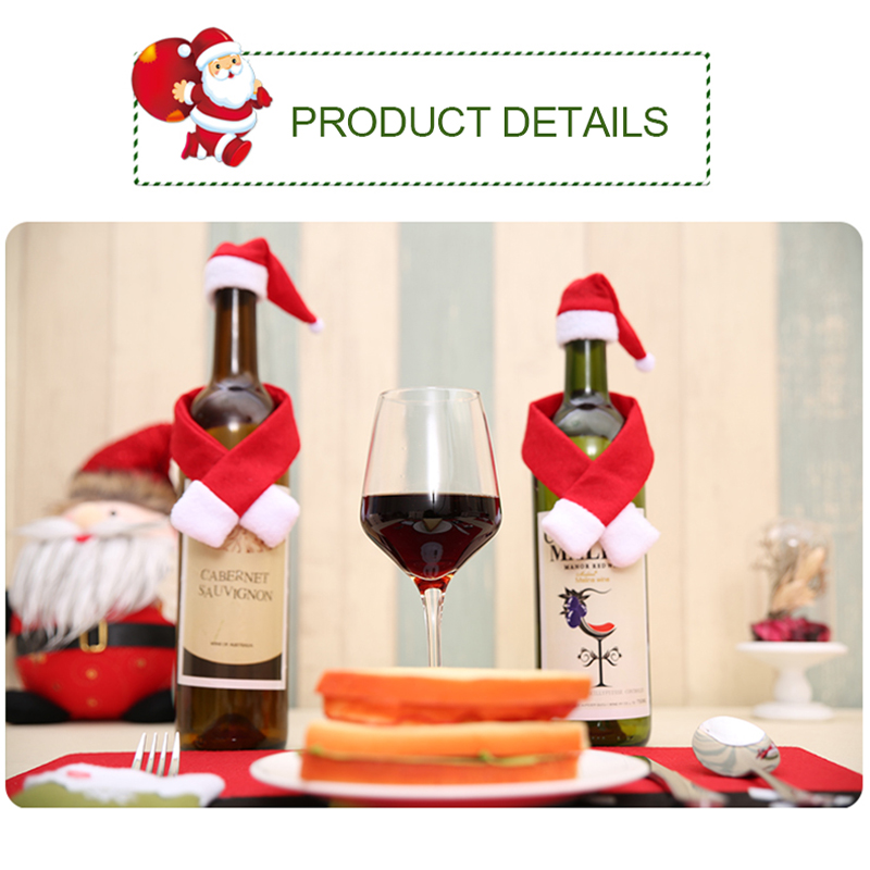 2pcs/ Set Christmas Decoration Red Wine Bottle Covers Clothes With Hats For Home Christmas Dinner Party