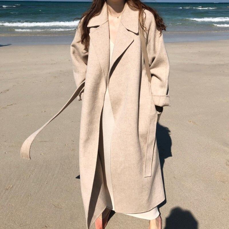 19 Winter Oversize Long Trench Coat Women Cashmere Coat Korean Lady Windbreaker Outwear Streetwear 97