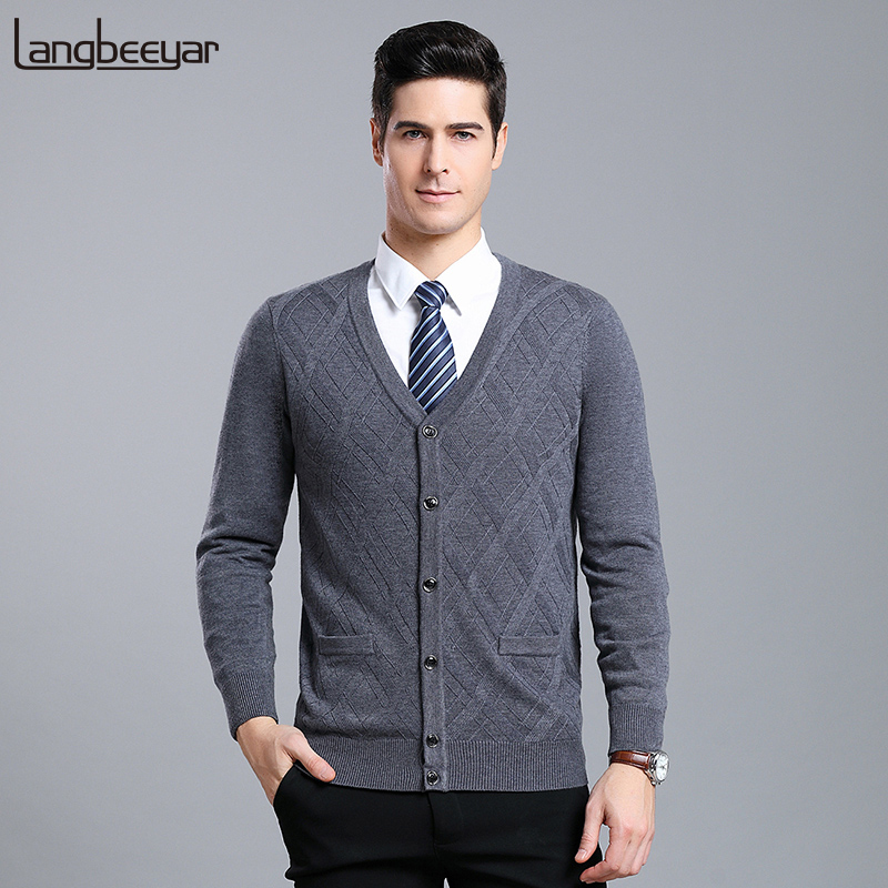 6% Wool 2019 New Fashion Brand Sweater Men Cardigan Jumpers Knitwear Jacquard Winter V Neck Slim Fit Casual Men Clothes