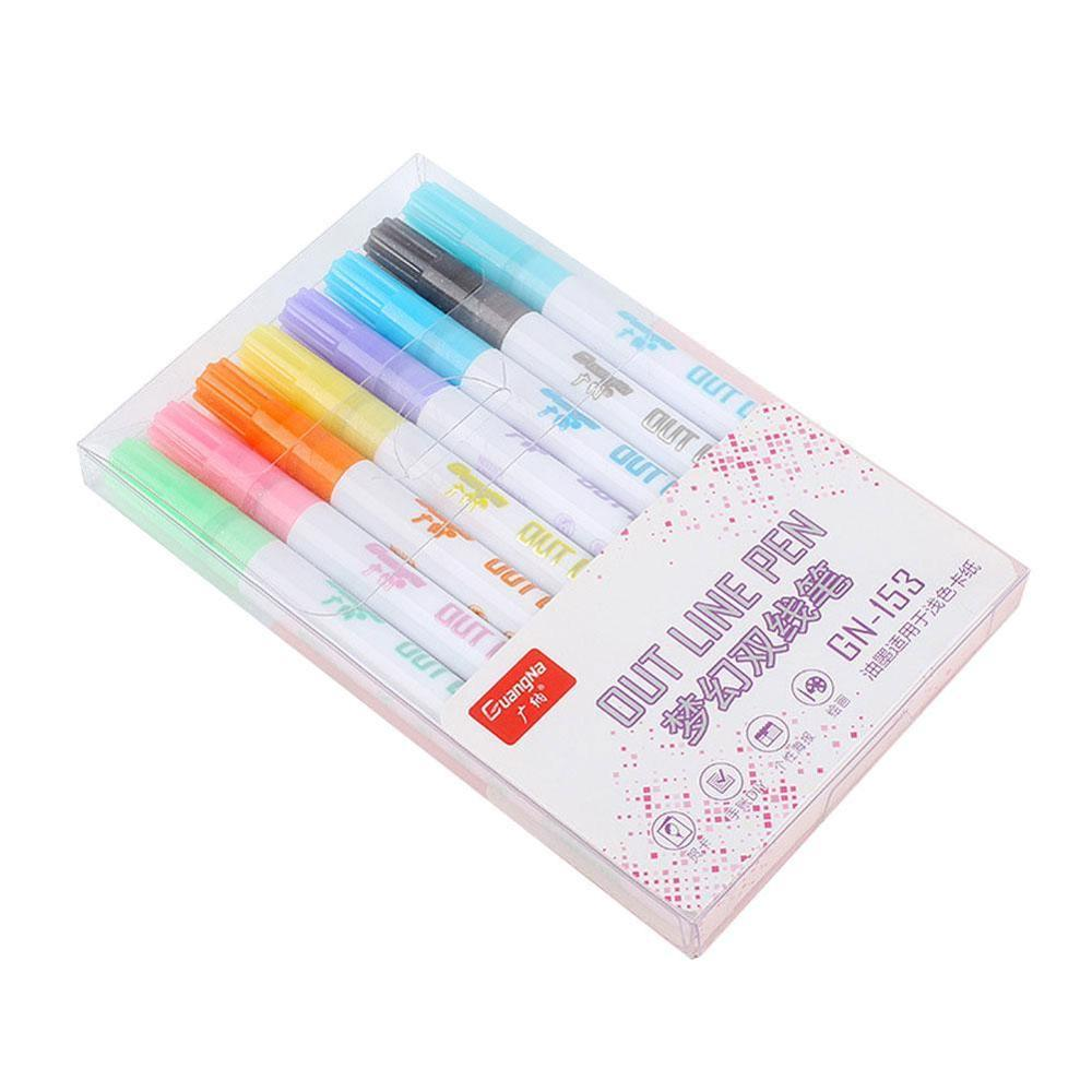8 Colors/set Double-line Pens Highlighter Dual Double Line Fluorescent Pen Drawing Marker Pen Stationery School Supply