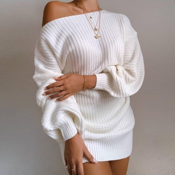 The hottest ladies casual off-shoulder lantern sleeve knitted sweater dress casual off the shoulder sheath slit dress