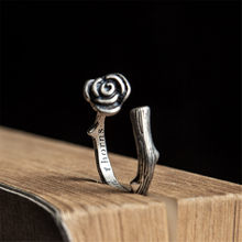 Genuine 925 Sterling Silver Female Vintage Simple Open Rings Rose Design Fashion Jewelry For Women Opening Adjustable Ring(China)