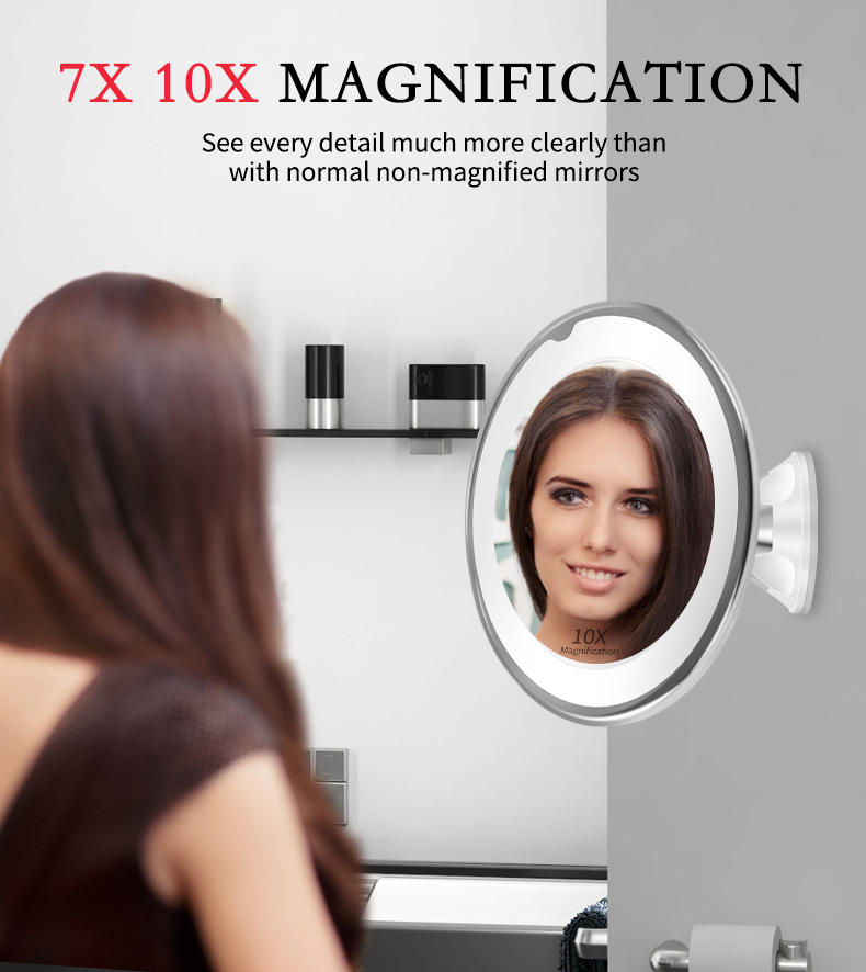 Makeup Vanity Mirror With 10X Lights LED Magnifying Mirror Cosmetic Mirrors Light Magnification LED Make up Mirrors Grossissant