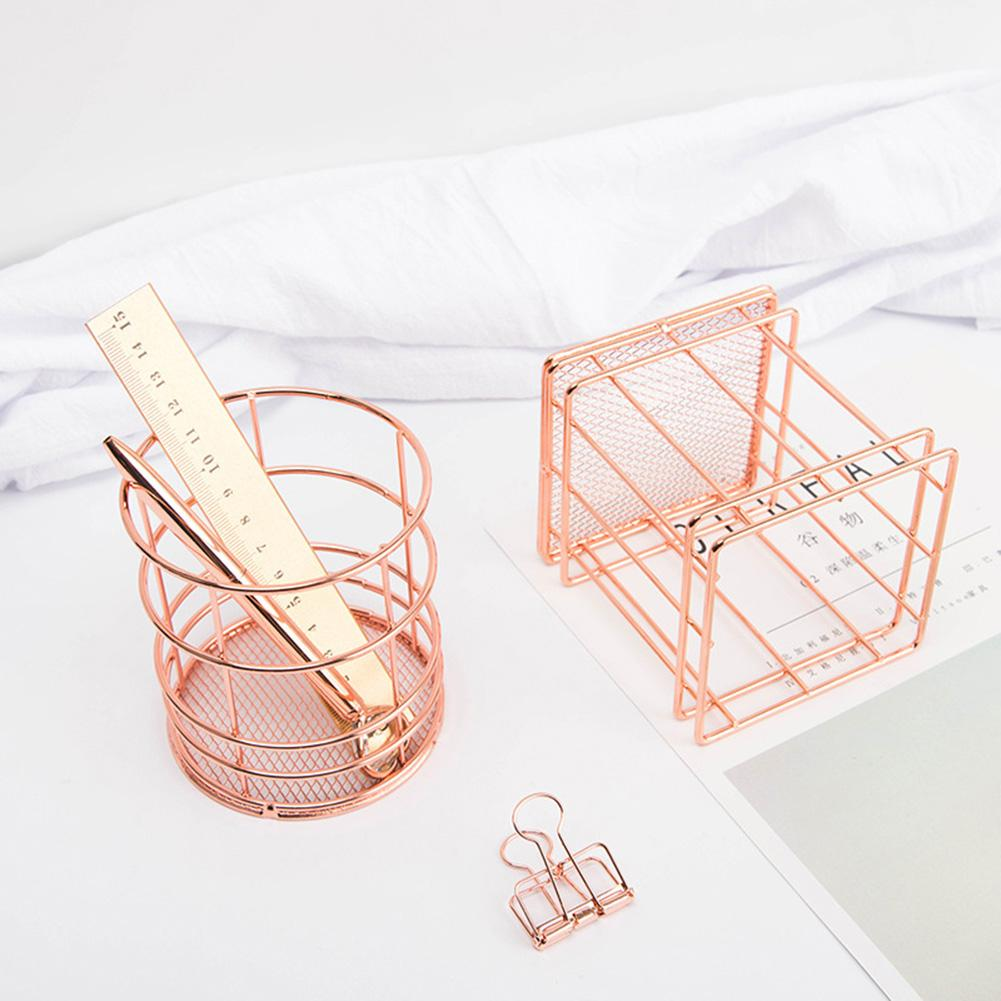 Organizer For Pen Rose Gold Wire Net Pencil Holder Round Iron Mesh Makeup Brush Organizer Desk Sorter For Office Home