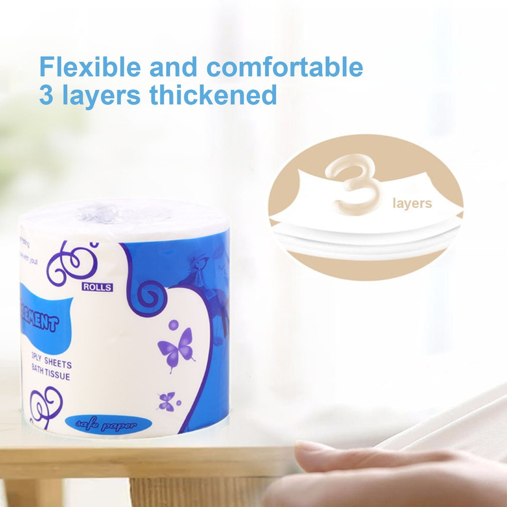 10 Rolls Standard 3-ply Toilet Paper Bulk Rolls Bath Tissue Household Bathroom Soft Paper Towel