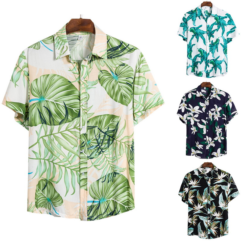 2020  Summer Men's Shirts Hawaiian Casual Shirts Tropical Button Tops Fashion Shirts Casual Short-sleeve Men Slim Fit Shirts