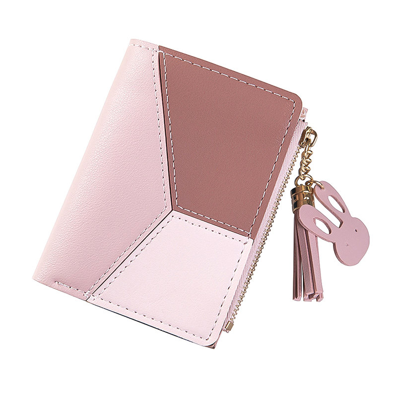 New Patchwork Tassel Women Wallet Short Zipper Large Capacity Coin Purse Casual Brief Card Holder Pocket Fashion Clutch Bag