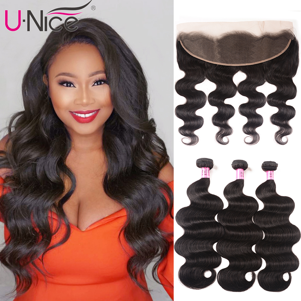 UNice Hair Brazilian Body Wave Lace Frontal Closure With 3/4 Bundles 13x4 Remy Human Hair Bundle Lace Closure 4/5PCS