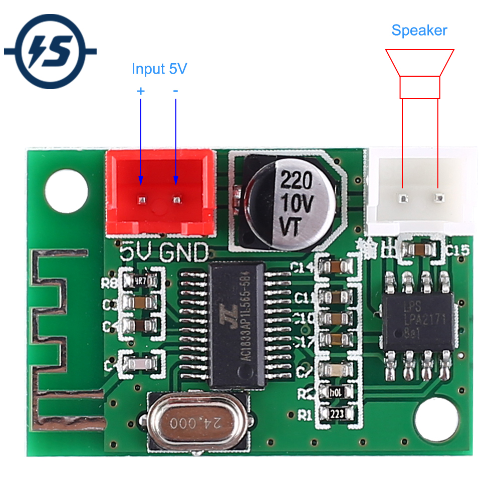 5V Bluetooth Amplifier Module 5W Mono Class D Wireless Lossless Music Player Digital Power Amplifier Finished Board