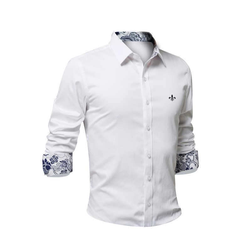 9 色 Blusa カミーサソーシャル Masculina Dudalina 長袖スリムフィット花服白人男性プラスサイズ