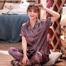 Spring Pajama Sets Silk Pijama Sexy Satin Sleepwear Women Summer Large Size Pyjama Femme Sl