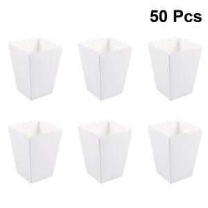 50pcs Paper Candy Cartons Popcorn Box Party Supplies White Popcorn Boxes Pop Corn Snacks Food Tub Wedding Kids Birthday Supplies(China)