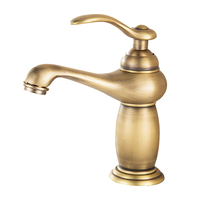 BAOLINLONG Antique Brass Deck Mount Bathroom Basin Faucets Tap Vanity Vessel Sinks Mixer Single Faucet
