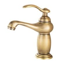 BAOLINLONG antika pirinç güverte dağı banyo havzası musluk dokunun Vanity damarlı lavabolar mikser tek musluk