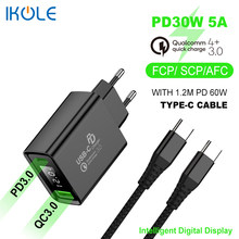 IKOLE PD chargeur PD30W Charge rapide QC4 + QC4.0 QC3.0 suralimentation pour Huawei Samsung USB type-c 20W Charge rapide pour iPhone 12 8