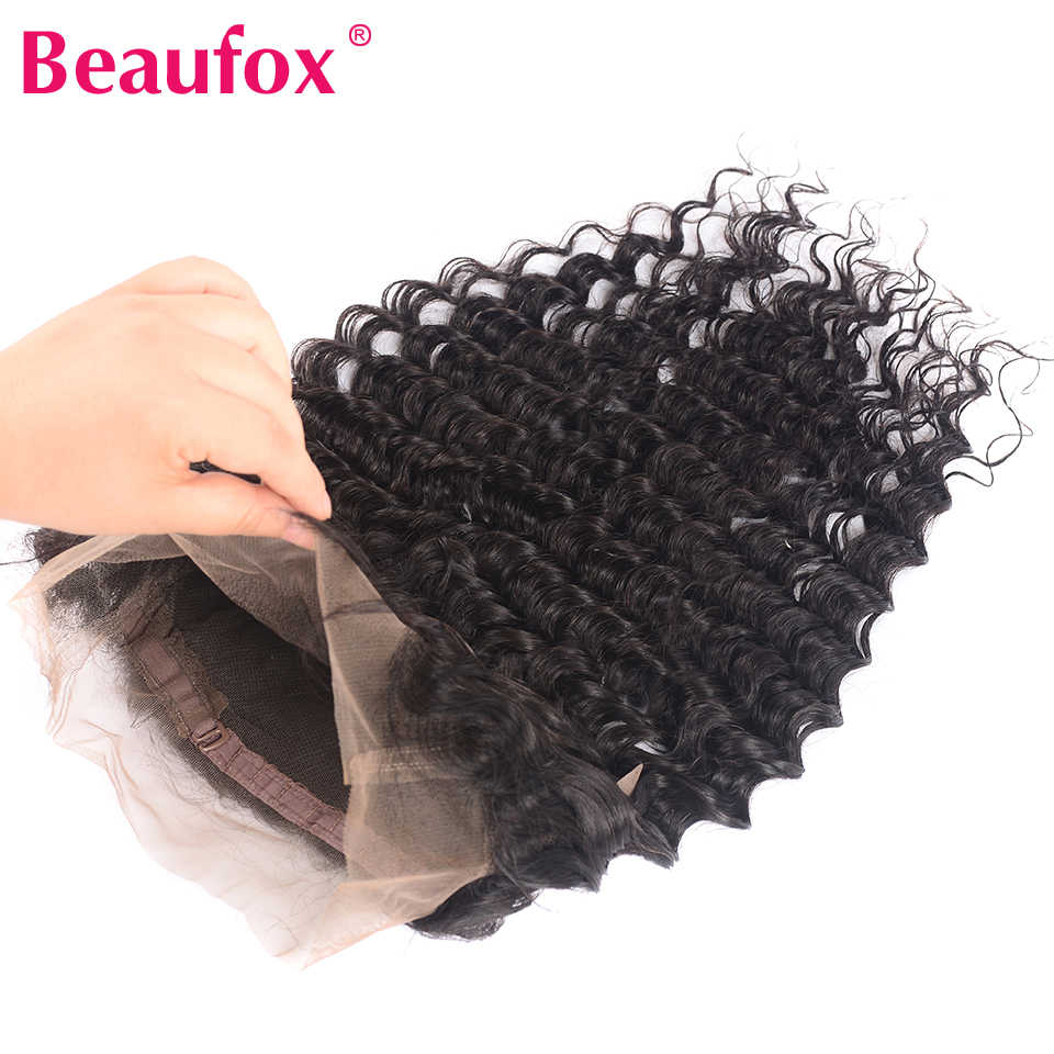 Beaufox Deep Wave 360 Lace Frontal Closure With Baby Hair Brazilian Hair 100% Human Hair 360 Closure Remy