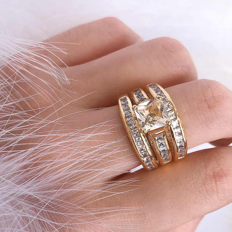 Juego de 3 piezas de zirconia 14K anillo de joyería de oro al por mayor Europa sra. matrimonio compromiso lujo diamante Vintage estrella de película anillo