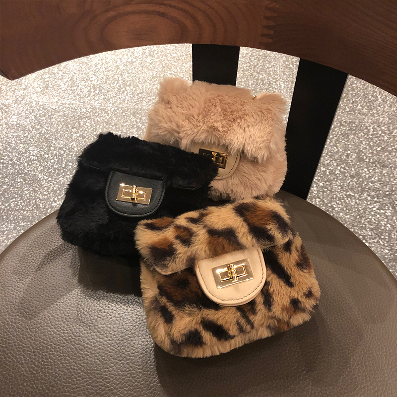 Fashion Leopard Plush Shell Women Shoulder Bags Designer Mini Chains Crossbody Messenger Bag Lady Cute Small Purses 2019 Winter