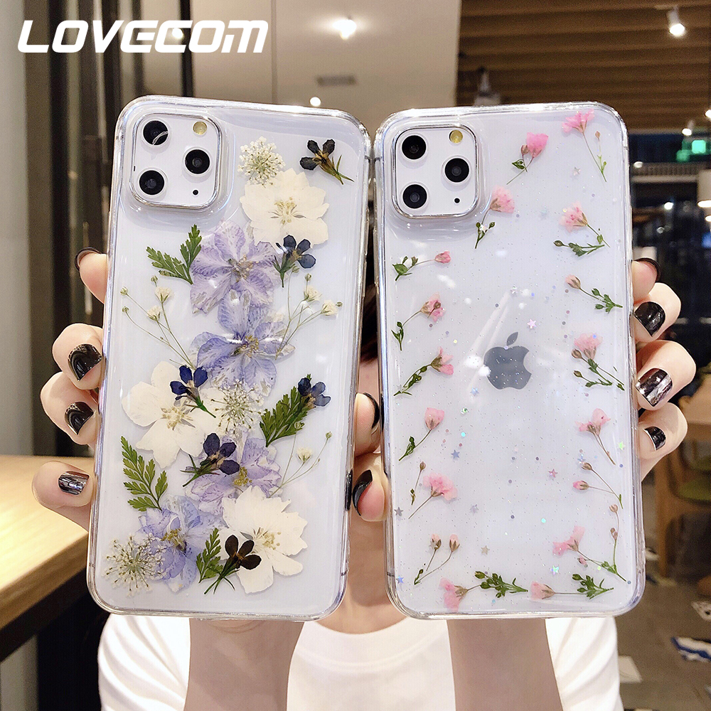 LOVECOM Real Dried Flower Phone Case For IPhone 11 Pro Max XR XS Max 7 8 6 6S Plus X Soft Epoxy Daisy Floral Clear Back Cover
