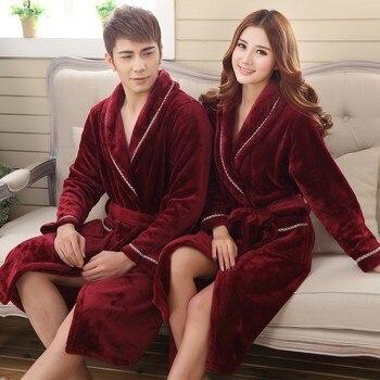Winter Thick Warm Female Coral Fleece Kimono Robe Lovers Couple Nightgown Bath Gown Sleepwear Men Large Nightwear M L XL XXL 3XL - discount item  35% OFF Women's Sleep & Lounge