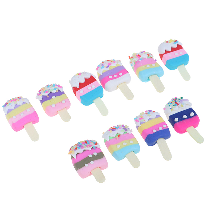 5pcs/lot Dollhouse Miniature Pretend Toy Mini Soft Ice Cream Bar DIY Ice-lolly Simulation Food For Dolls Accessories