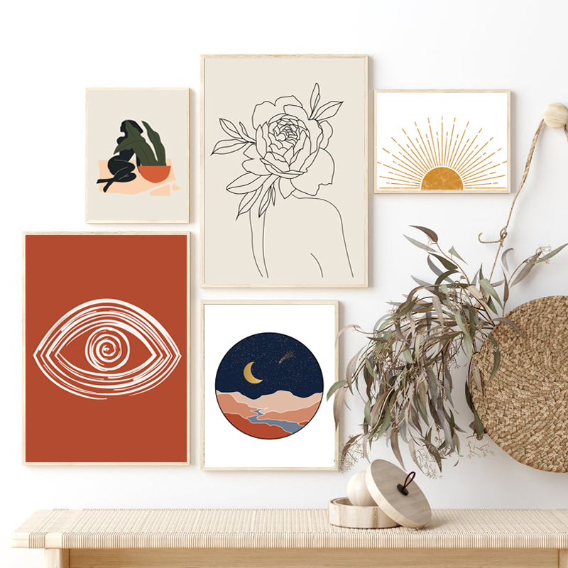 Abstract Woman Boho Burnt Orange Posters and Prints Gallery Wall Art Canvas Painting Nordic Wall Pictures for Living Room Decor