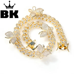 THE BLING KING 12mm CZ Rotate butterfly Necklace Iced Out Zircon custom Color Color