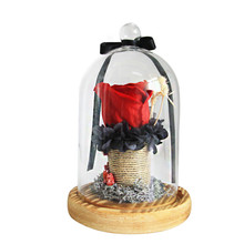 цена на The True Love Red Rose Bear In A Glass Dome On A Wooden Base For Valentines Wedding Wife Birthday Gifts With LED Flash Strings