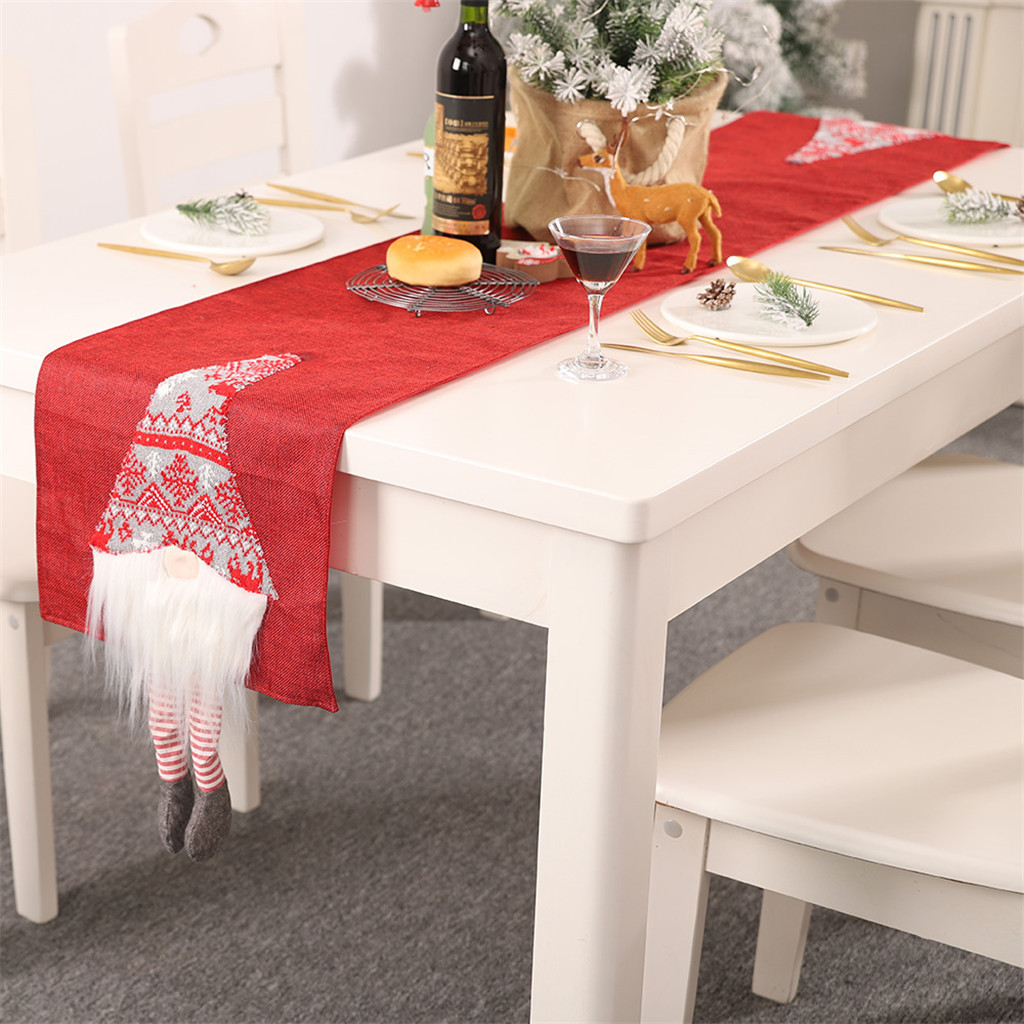 Christmas Table Runner Cute Creative Santa Claus Tablecloth Tablecloth Placemat Table Cloth Camino De Mesa