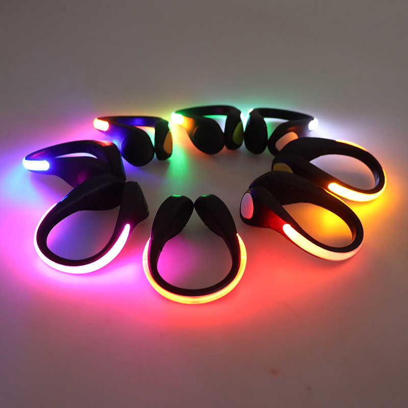 Bicicletta all'aperto LED Luminoso di Notte Corsa E Jogging Scarpa Pinze Scarpe Clip di Ciclismo Sport di Sicurezza LED Luminoso Luci di Avvertimento per la Sicurezza