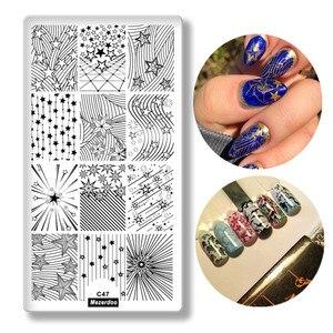 Прямоугольные пластины для стемпинга ногтей с геометрическим рисунком, трафареты для дизайна ногтей, шаблоны для маникюра, инструменты C47