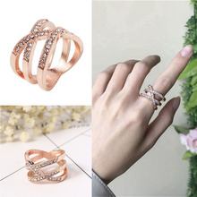 цена 2020 New Trendy Rose Gold Color Wedding Rings for Women Engagement Ring Anniversary Stackable Rings Jewelry for Women онлайн в 2017 году
