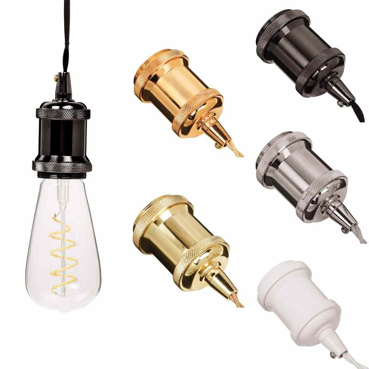 Smuxi Лофт ретро E27 E26 держатель лампы винтажный подвесной светильник с алюминиевым покрытием ностальгические бар основания 110 В/220 В гнездо адаптера
