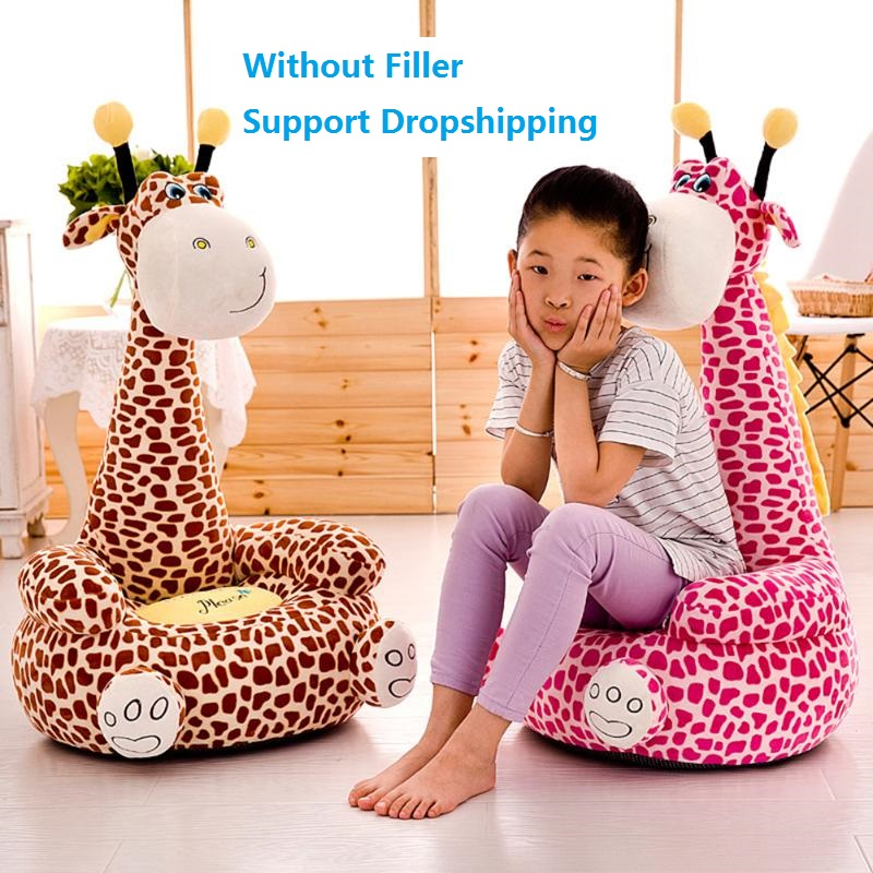 Cartoon Giraffe Baby Sofa Seat Cover Convenient Practical User-friendly Design Toddler Sit Support Chair Case Without Filler