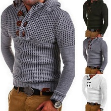 Men Knitted Cardigans Sweater Casual Autumn Winter All-Match Outerwear Jackets Solid Color O Neck Cotton Button Sweaters Tops button through solid outerwear