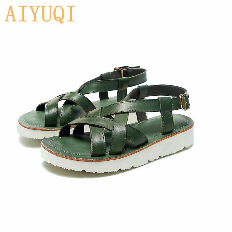 Женские модные сандалии AIYUQI, летние сандалии из натуральной кожи на плоской подошве, 2020