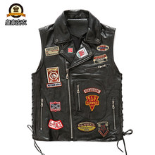 Factory 2020 New Men Punk Rock Multi labeling Cow Leather Vest Fashion Rock Cowskin Leather Vest Jacket M-4XL(China)