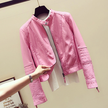 Spring Autumn Pink Leather Jacket Girls Ladies New Korean Style Motorcycle Small Coat Short Pu Slim Coats Women