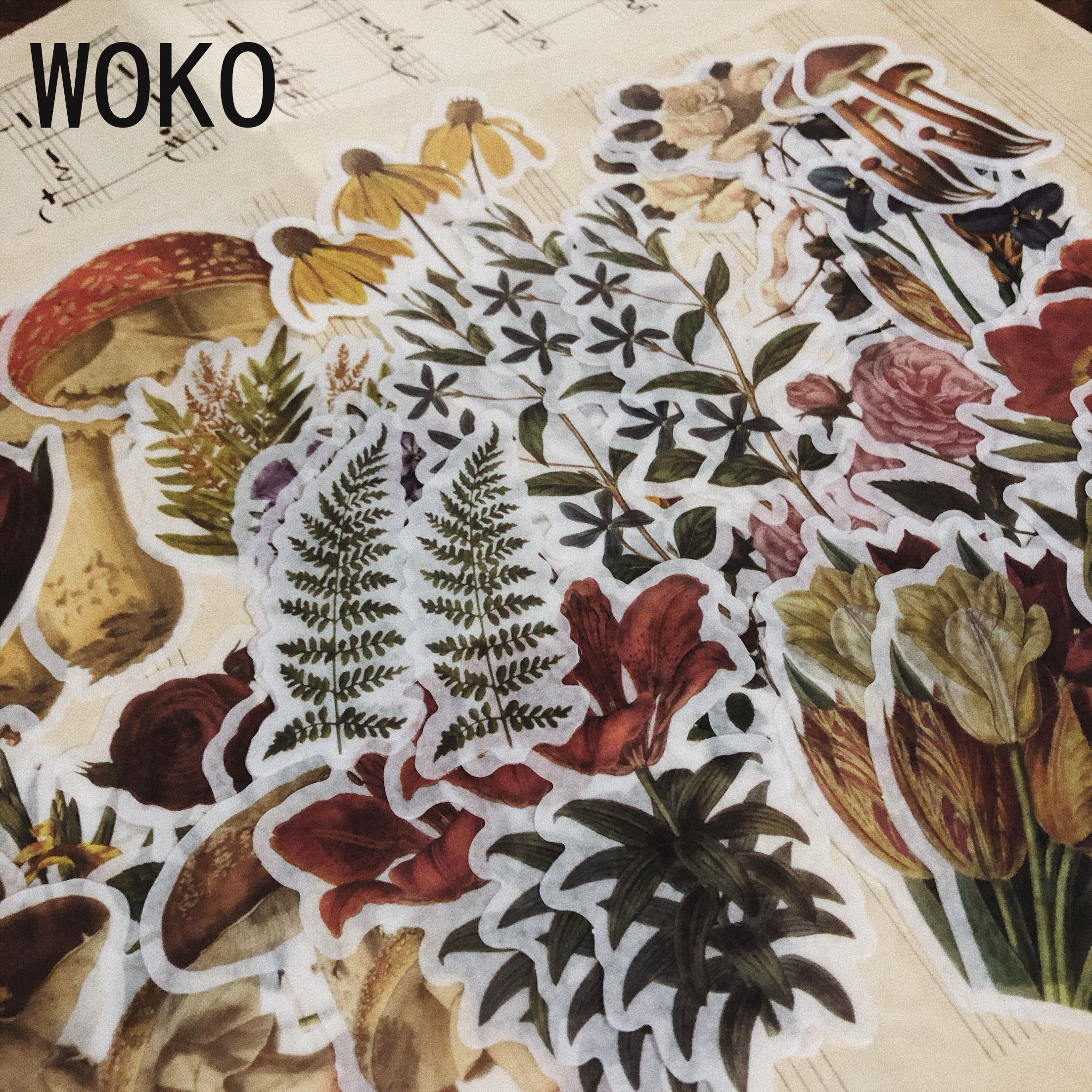 WOKO 60pcs Bronzing Plant Material Washi Sticker Retro Dried Flower Fungi Fern Rose Deco Sticker DIY Bullet Journal Scrapbooking