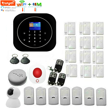 Yobang Security WIFI GSM Wireless Home Business Burglar Security Alarm System TUYA APP Control Video IP Camera Smoke Fire Alarm Sensor Russian Spanish French Italy Support ALEXA GOOGLE Home
