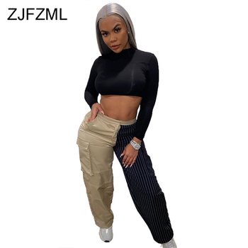 Vertical Striped Spliced Straight Sweatpant Women High Waist Color Block Wide Leg Pant Casual Ladies Pockets Full Length Trouser color block striped jumper