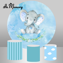 InMemory Elephant Baby Shower Newborn Round Backdrops For Photography Blue Boys 1st Birthday Party Backgrounds Plinth Covers
