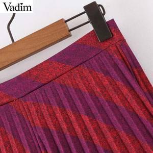 Image 4 - Vadim נשים אופנה פסים קפלים חצאית צד רוכסן Europen סגנון midi חצאית נקבה מקרית אמצע עגל חצאיות BA885