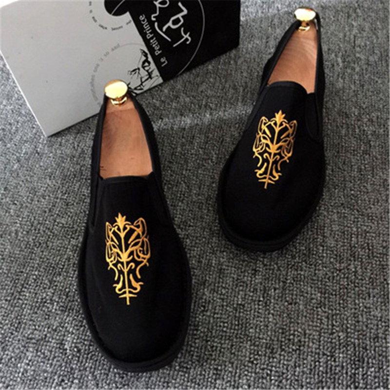 Image 3 - Spring Fashion Flats Shoes Espadrilles Loafers Light Hard Wearing 2019 Man Women Canvas Harajuku Rubber Canvas Embroider Shoes-in Men's Casual Shoes from Shoes