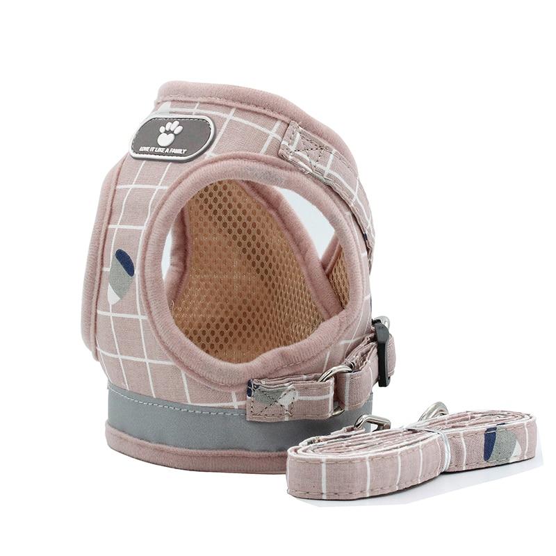 Dog Harness Reflective Puppy Kitten Collars Breathable Mesh Vest Adjustable Small Dog Cat Vest Harnesses Leash Pug Pet Supplies